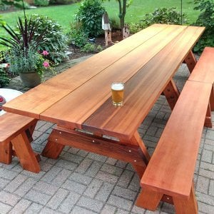 "Heritage Picnic Table (Options: 12' L, 34 1/2"" W, Side Benches, 2 Half Length Side Benches/Side, Classic Forever Benches, Standard Tabletop, Slightly Rounded Corners, Standard Leg Flair, No Umbrella Hole, Transparent Premium Sealant). Photo Courtesy of Pat Meyer of River Forest, Illinois"