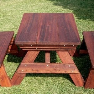 "Heritage Picnic Table (Options: 4' L, 34 1/2"" W, Side Benches, Unattached Benches, 1 Full Length Side Bench/Side, Forever Style Benches, Standard Tabletop, Rounded Corners, Standard Leg Flair, No Umbrella Hole, Transparent Premium Sealant)."