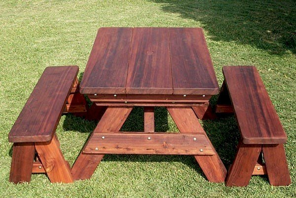 """Heritage Picnic Table (Options: 4' L, 34 1/2"""" W, Side Benches, Unattached Benches, 1 Full Length Side Bench/Side, Forever Style Benches, Standard Tabletop, Rounded Corners, Standard Leg Flair, No Umbrella Hole, Transparent Premium Sealant)."""