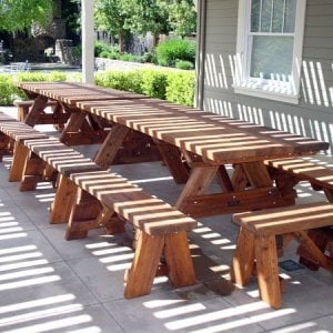 "Heritage Picnic Tables (Options: 8' L, 34 1/2"" W, Side & End Benches, Unattached Benches, 2 Half Length Side Benches/Side, Forever Style Benches, Seamless Tabletop, Squared Corners, Standard Leg Flair, No Umbrella Hole, Transparent Premium Sealant)."