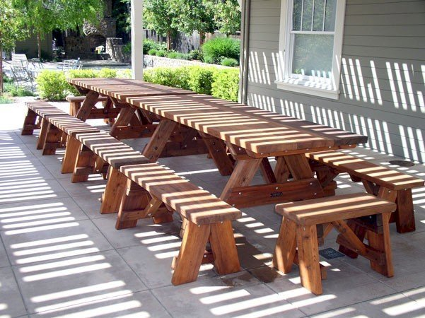 """Heritage Picnic Tables (Options: 8' L, 34 1/2"""" W, Side & End Benches, Unattached Benches, 2 Half Length Side Benches/Side, Forever Style Benches, Seamless Tabletop, Squared Corners, Standard Leg Flair, No Umbrella Hole, Transparent Premium Sealant)."""