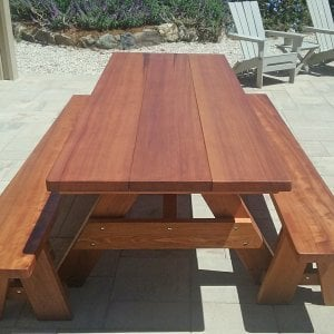 "Heritage Picnic Table (Options: 8' L, 34 1/2"" W, Side Benches, Unattached Benches, 1 Full Length Side Bench/Side, Forever Style Benches, Standard Tabletop, Slightly Rounded Corners, Standard Leg Flair, No Umbrella Hole, Transparent Premium Sealant). Photo Courtesy of T.Jacobi of San Luis Obispo, CA."
