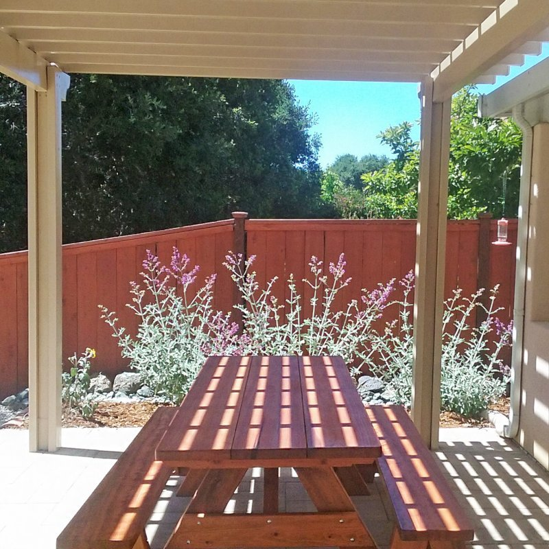 """Heritage Picnic Table (Options: 8' L, 34 1/2"""" W, Side Benches, Unattached Benches, 1 Full Length Side Bench/Side, Forever Style Benches, Standard Tabletop, Slightly Rounded Corners, Standard Leg Flair, No Umbrella Hole, Transparent Premium Sealant). Photo Courtesy of T.Jacobi of San Luis Obispo, CA."""