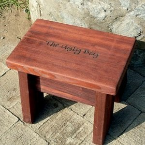 """Heritage Foot Stool (Options: 15"""" H, Engraving, Cherry Stain)"""