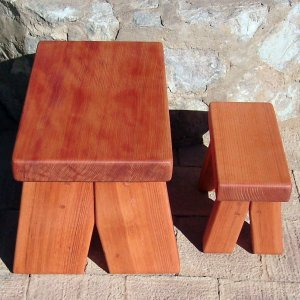 "Comparison of Heritage (left) and Mini Foot Stools (right). Mini: (Options: Mature Redwood, 7"" H, No Engraving, Transparent Premium Sealant. Heritage Foot Stool: (Options: Old-Growth Redwood, 13"" H, No Engraving, Transparent Premium Sealant)"