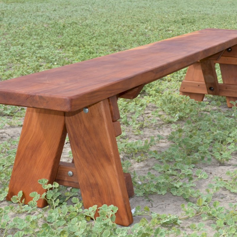 """Heritage Picnic Bench (Options: 8 ft, 17 1/2"""" H, Forever Style Bench, Slightly Rounded Corners, No Engraving, Transparent Premium Sealant)."""