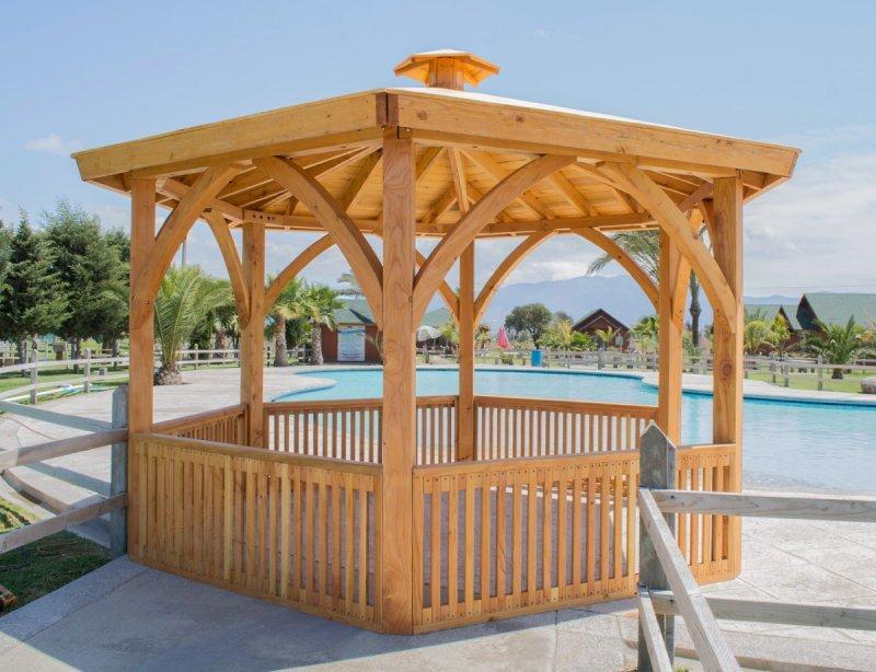 Hexagonal Park Pavilion (Options: 14 ft Diameter, No Deck, Douglas-fir, 8 ft H, Transparent Premium Sealant).
