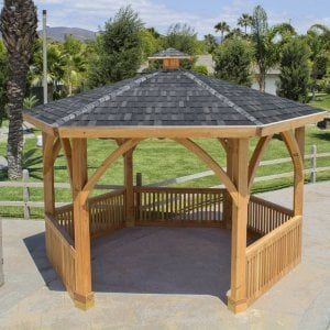 Hexagonal Park Pavilion (Options: 14 ft Diameter, No Deck, Douglas-fir, 8 ft H, Transparent Premium Sealant).