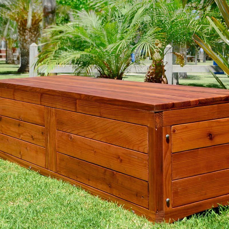Holbrook Storage Bench (Options: 72 x 24 x 20, Mature Redwood, No Cushion, No Engraving, Transparent Premium Sealant).