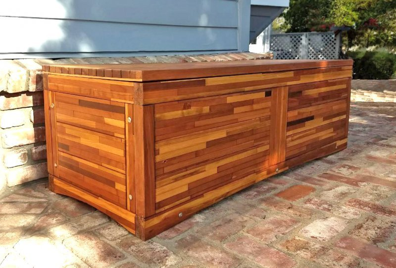 "Holbrook Storage Bench (Options: 60"" L x 20"" W x 24"" H, Mosaic Eco-Wood, No Cushion, No Engraving, Transparent Premium Sealant). Photo Courtesy of C. Barty of Windsor, CA."