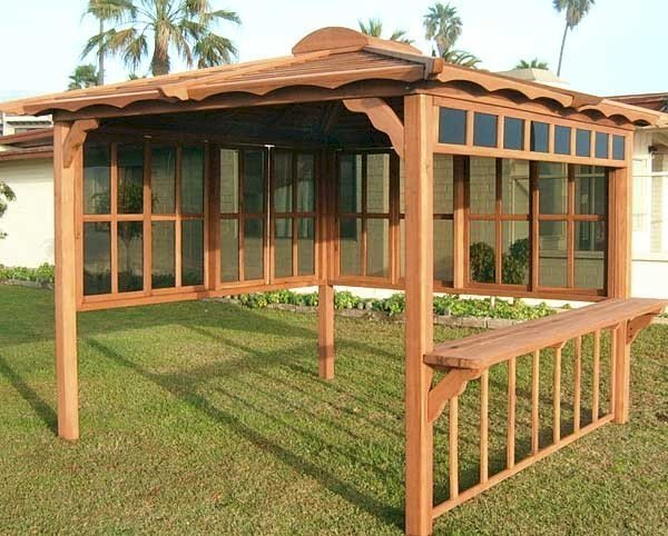 Hot Tub Pavilion (Options: 9' x 9', Old-Growth Redwood, Windows on 2 Sides, No Curtain Rods, 4-Post Anchor Kit for Stone, Transparent Premium Sealant). Window Bar is a Custom Request