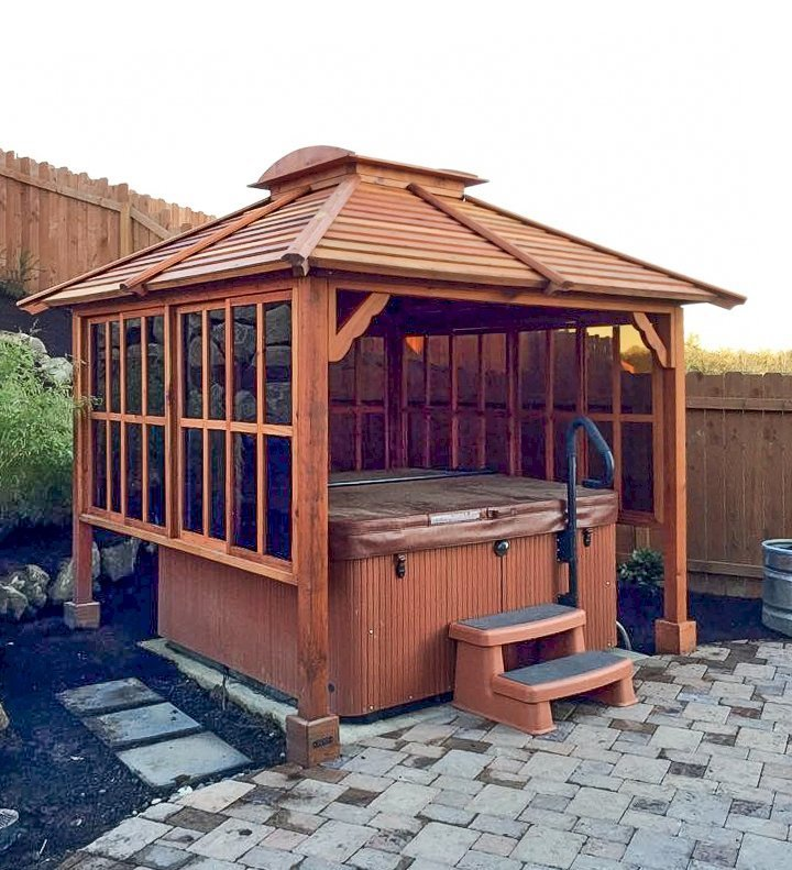 Hot Tub Pavilion (Options: 9' x 9', Mature Redwood, Windows on 3 Sides, 4-Post Anchor Kit for Concrete, Transparent Premium Sealant). Photo Courtesy of Lauren Bode of Ridgefield, Washington. Order was installed by Forever Redwood.