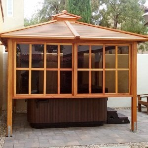 Hot Tub Pavilion (Options: 10' x 10', Redwood, Windows on 2 Sides, 4-Post Anchor Kit for Concrete, Transparent Premium Sealant). Photo Courtesy of Karl Biorkman of Irvine, CA.