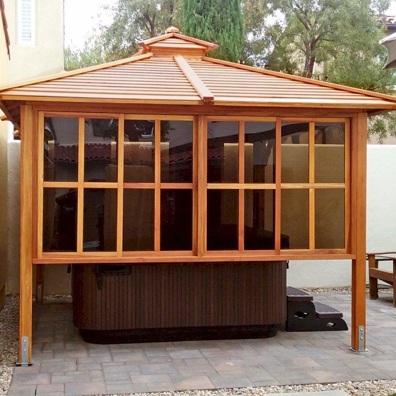 Hot Tub Pavilion (Options: 10' x 10', California Redwood, Windows on 2 Sides, 4-Post Anchor Kit for Concrete, Transparent Premium Sealant). Photo Courtesy of Karl Biorkman of Irvine, CA.