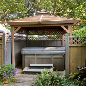 Hot Tub Pavilion (Options: 9' x 9', Redwood, No Windows, Lattice Panels on 3 Sides, No Anchors, Custom Sealant). Photo Courtesy of G. Barth of Cherry Hill, NJ.