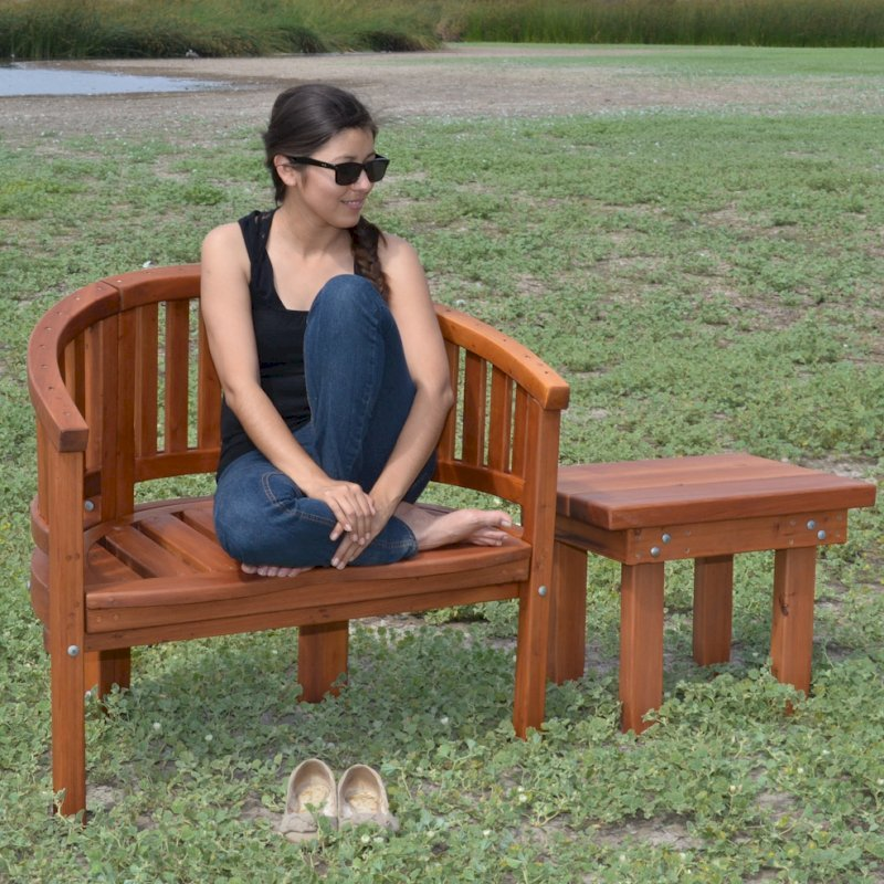 Jane's Key West Chair (Options: Old-Growth Redwood, No Cushion, No Engraving, Transparent Premium Sealant) with Rectangular Side Table.