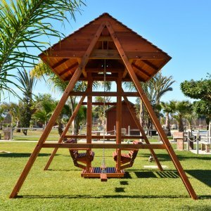 Jean's Ultimate Swing Set (Options: Mature Redwood, San Anthony Glider with 2 Standard Swing Seats, Standard Roof, No Kid's Platform/Side Table, No, Engraving, Transparent Premium Sealant)