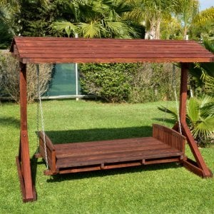 """Jhoola Day Bed Swing (Options: 7' L, 48"""" W, Include Frame with Roof, California Redwood, Add 2 Railings (North and South), Day Bed Style, No Cushion, Cherry Stain Premium Sealant)."""