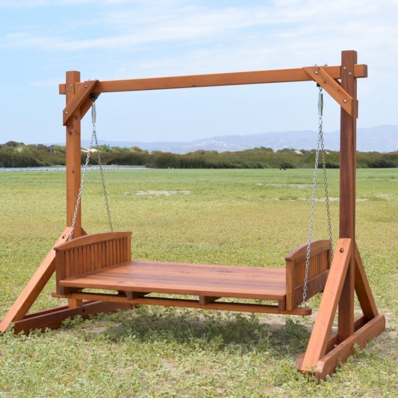 """Jhoola Day Bed Swing (Options: 6' L, 48"""" W, Include Frame without Roof, California Redwood, Add 2 Railings (North and South), Jhoola Style, No Cushion, Transparent Premium Sealant)."""