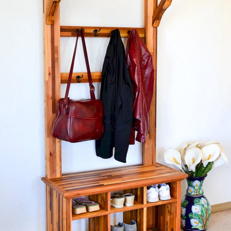 Julia's Hall Tree (Options: Mosaic Eco-Wood, Black Hooks, 1 Row Shoes, 1 Row Boots, Transparent Premium Sealant).