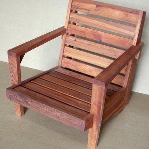 "Kari's Modern Wood Chair (Options: Redwood, Original Low Seat Design (8"" H seat), No Cushion, Transparent Premium Sealant)"