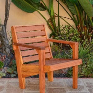 "Kari's Modern Wood Chair (Options: California Redwood, Standard Seat Height (14"" H seat), No Cushion, Transparent Premium Sealant)"
