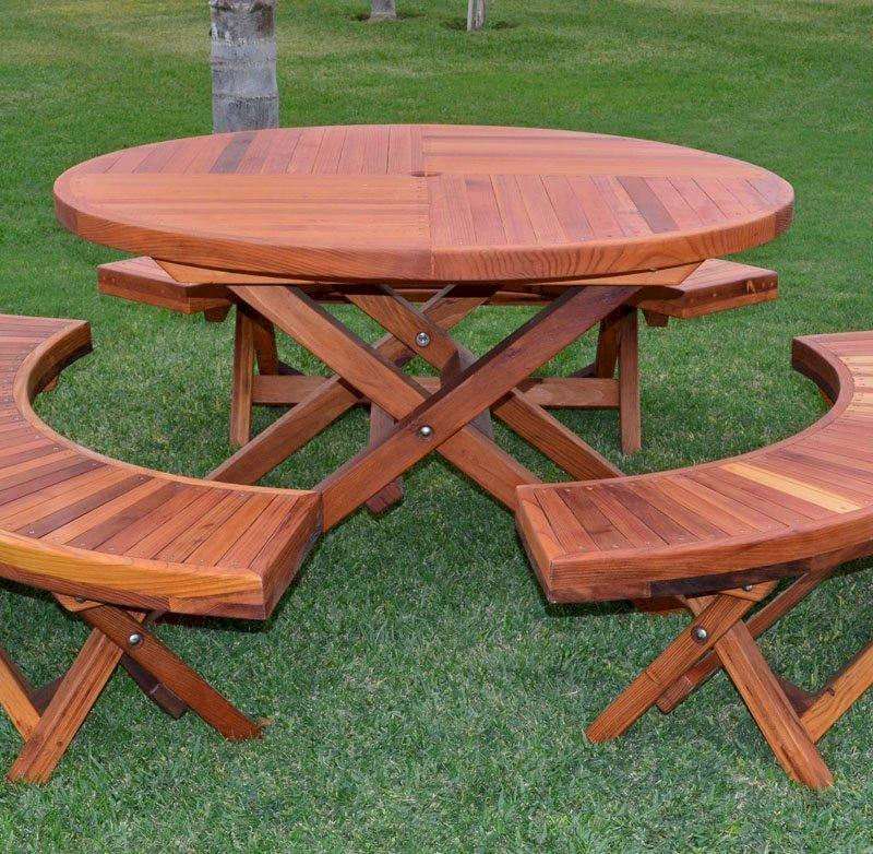 Karyn's Folding Picnic Table (Options: Arc Picnic Benches, California Redwood, 3 Arc Folding Benches, Standard Tabletop, Checkerboard, No Umbrella Hole, Transparent Premium Sealant).