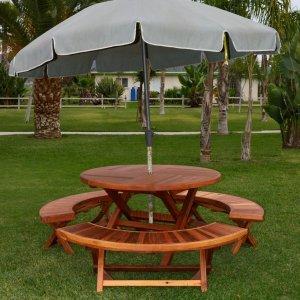 Karyn's Folding Picnic Table (Options: Arc Picnic Benches, California Redwood, 3 Arc Folding Benches, Standard Tabletop, Checkerboard, Umbrella Hole, Transparent Premium Sealant).