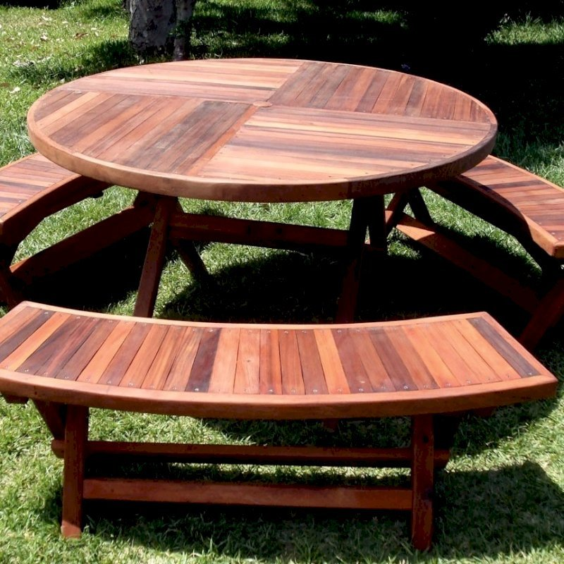 Karyn's Folding Picnic Table (Options: Arc Benches, Old-Growth Redwood, 3 Folding Arc Benches, Seamless Tabletop, Checkerboard Design Tabletop, Umbrella Hole & Plug, Transparent Premium Sealant).