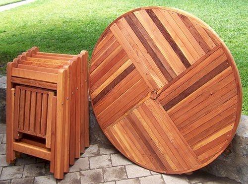 Karym's Folding Table (Options: 6 Folding Chairs, California Redwood, Seamless Tabletop Design, Checkerboard Design, Visible Screw Placement, Umbrella Hole & Plug, Transparent Premium Sealant).