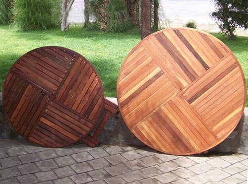 """SIZE AND TABLETOP COMPARISON: Round Folding Table - Left: 42"""" in Old-Growth Redwood with Standard Tabletop Spacing, Karyn's Folding Table: Mature Redwood with the Seamless Tabletop Spacing."""