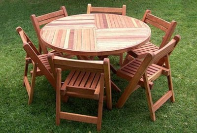 Karyn's Round Wooden Folding Table