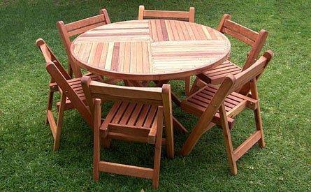 Karyn's Round Wooden Folding Table