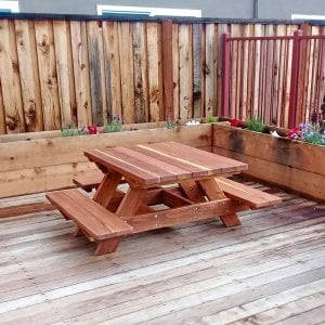 Custom Kid's Picnic Table (Options: Redwood, No Umbrella, Standard Top, Custom End Bench, Transparent Premium Sealant). Photo Courtesy of T. Becker of San Jose, CA.