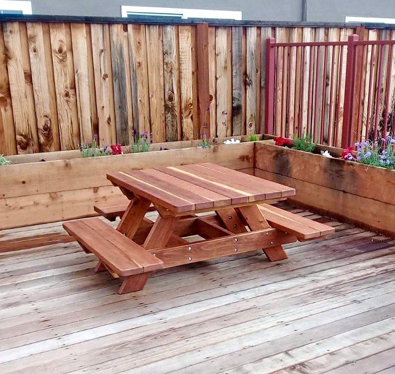 Custom Kid's Picnic Table (Options: California Redwood, No Umbrella, Standard Top, Custom End Bench, Transparent Premium Sealant). Photo Courtesy of T. Becker of San Jose, CA.