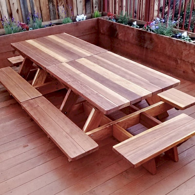 Swell Kid Size Wood Picnic Table With Attached Benches Forever Machost Co Dining Chair Design Ideas Machostcouk