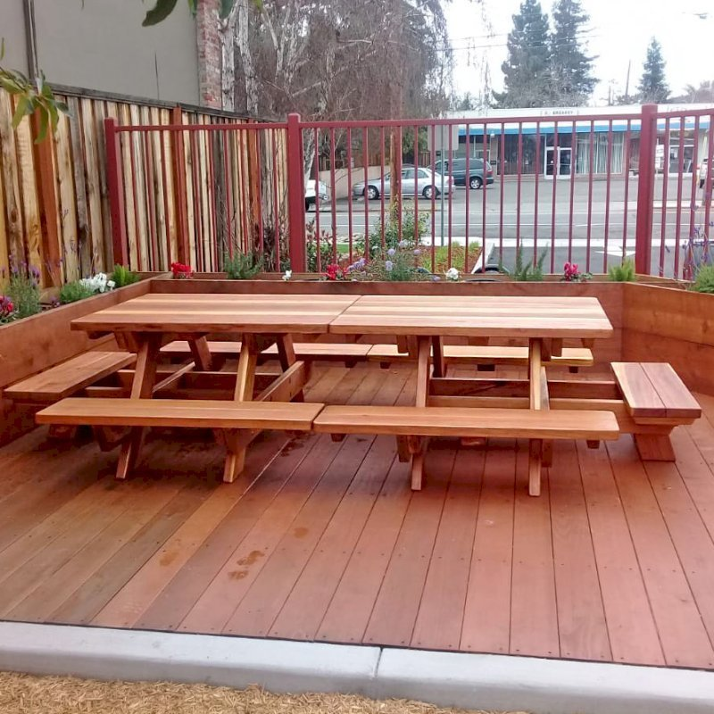 Marvelous Kid Size Wood Picnic Table With Attached Benches Forever Machost Co Dining Chair Design Ideas Machostcouk
