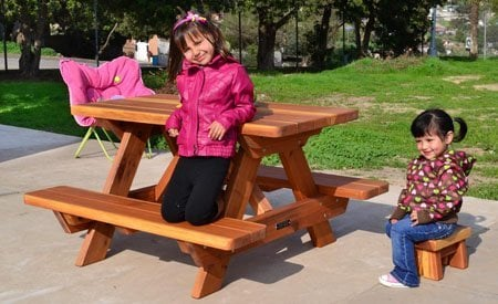 Kid Size Wood Picnic Table (Attached Benches)