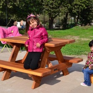 Kid's Picnic Table (Options: Redwood, No Umbrella, Standard Top, Transparent Premium Sealant) and Mini Foot Stool.