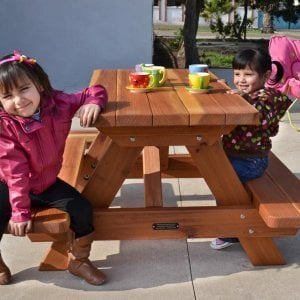 Kid's Picnic Table (Options: Redwood, No Umbrella, Standard Top, Transparent Premium Sealant).