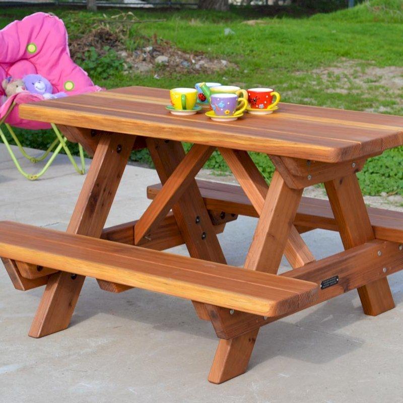 Kid's Picnic Table (Options: California Redwood, No Umbrella, Standard Top, Transparent Premium Sealant) and Mini Foot Stool.