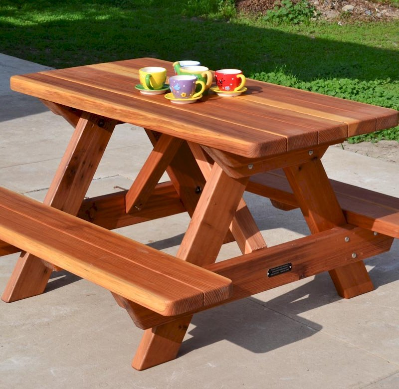 Kid Size Wood Picnic Table With