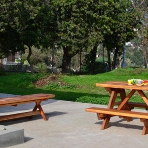 Kid's Picnic Table (Options: Redwood, No Umbrella, Standard Top, Transparent Premium Sealant) and Folding Bench.