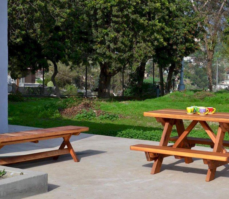 Kid's Picnic Table (Options: California Redwood, No Umbrella, Standard Top, Transparent Premium Sealant) and Folding Bench.