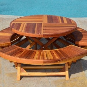 Kid's Arc Folding Benches with a Matching Kid's Round Folding Table (Options: Redwood, Transparent Premium Sealant).