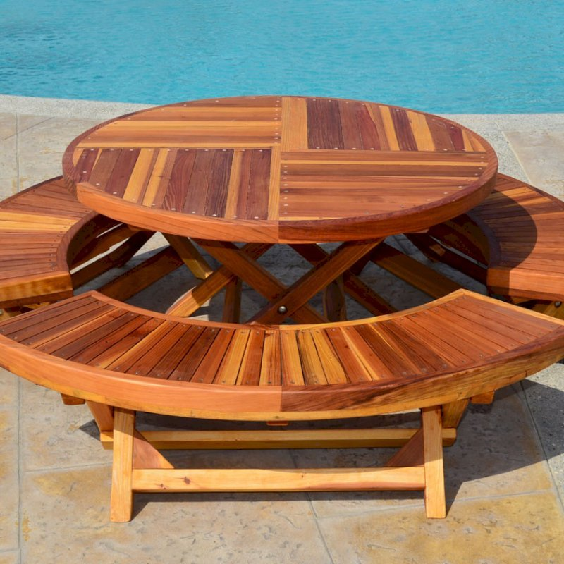 Kid's Arc Folding Benches with a Matching Kid's Round Folding Table (Options: California Redwood, Transparent Premium Sealant).