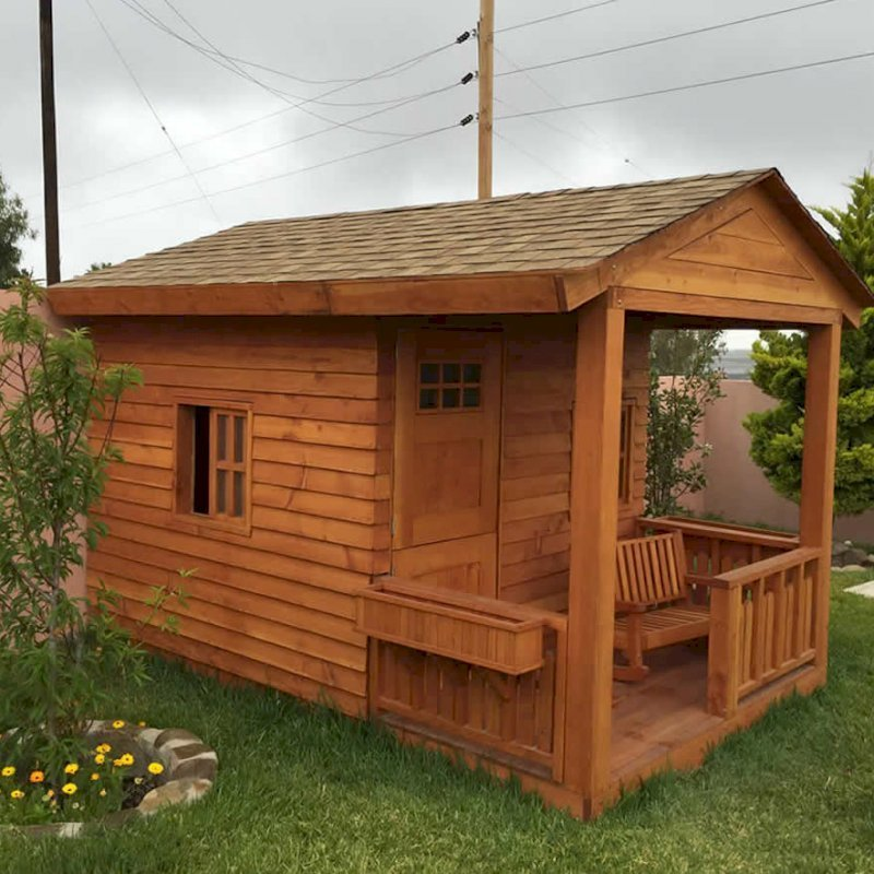 Kid's Backyard Cabin (Options: 12ft L x 8ft W, 7ft Wall H, Old Growth, 4ft Front Porch Size [Included in the Overall Length], Interior Decking, Transparent Premium Sealant).