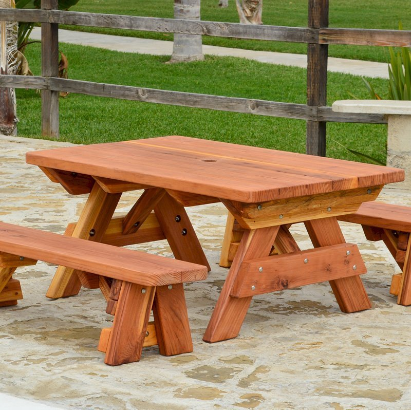 Kid's Picnic Table (Options: Side Benches, California Redwood, Transparent Premium Sealant).
