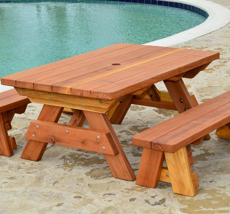 Kid Size Wood Picnic Table Unattached