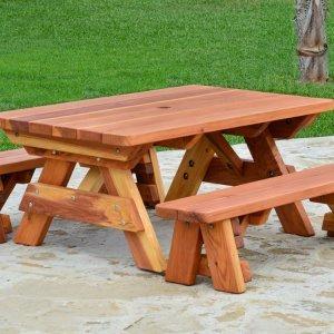 Kid's Picnic Table (Options: Side Benches, Redwood, Transparent Premium Sealant).